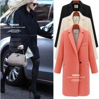 2014 fashion solid color cashmere woolen overcoat medium-long slim women thickening woolen outerwear warm jacket  coat