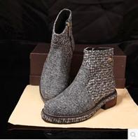 EMS Italy Designer Genuine Leather Women Martin Boots Fashion Original Winter Woolen Flat Heels Brand Ladies Riding Shoes
