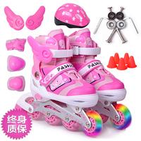 Skating shoes child full set adjustable flash inline skating shoes roller skates skating shoes