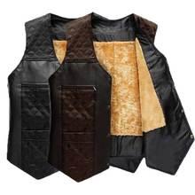 autumn winter Male plus velvet plus size waistcoat men's clothing vest leather patchwork cotton vest male(China (Mainland))