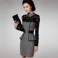 2014 Autumn Winter Women dresses elegant long-sleeve Lady office dress Plus size XXXL Slim waist slim hip Hollow lace dress