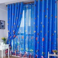 Eco-friendly child shade cloth cartoon window screening small fish child curtain yarn window curtain screening