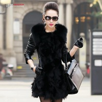 hot-selling High quality women's fur one piece sheepskin fox fur female outerwear Free shipping