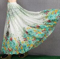 2014 women's bohemia national trend print chiffon bust skirt full   high waist skirt