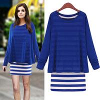 Fashion long-sleeve o-neck faux two piece stripe slim basic one-piece dress