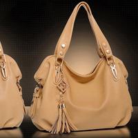 Summer star women's HARAJUKU dinner handbag stripe tassel female bags brown shoulder bag leather bag