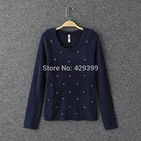 Women's 2014 autumn fashion normic slim handmade beading o-neck long-sleeve pullover