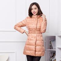 2014 Winter women's light weight Down coat medium-long down jacket outerwear slim stand collar fashion thin coat Free shipping