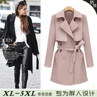 Limited Edition Fashion Trench 2014 Autumn And Winter Plus Size Women Medium-Long Mm Outerwear POLO Collar Outerwear Coat  Hot