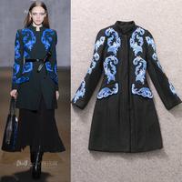 New In European Luxury Brands Woolen Blends Trench Coat Women's Blue Procelain Embroidery Winter Jacket