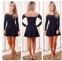 Vestidos Femininos 2014 Sexy Gauze Patchwork black lace Dress Long-sleeve Mini Short Dress Autumn Women dresses Casual dress
