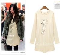Autumn fashion candy color print long t design long-sleeve dress