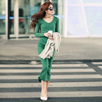 2014 spring and autumn women's long-sleeve slim dress long design knitted full dress S331 Free Shipping !