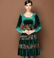 Autumn New Arrival Women's O Neck Classic Leopard Velour Dress Long Sleeves Patchwork Burntout Floral Sequin Dresses Plus Sizes