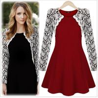 Fashion elegant slim waist o-neck women's lace one-piece dress 91116