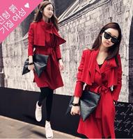2014 slim trench outerwear female casual medium-long lacing slim waist skirt dovetail overcoat