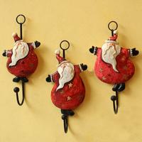 Free Shipping! 3pcsDancing Santa Claus Wall Hook Resin Cloth Hook Wall Hanger Christmas Decoration Christmas Man Cloth Hanger
