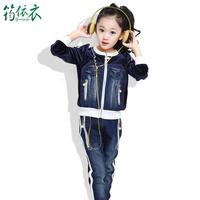 Free shipping new fashion female child personalized denim patchwork sports suit spring autumn velvet twinset girls clothing sets