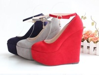 2015 women pumps, wedges heel single shoes,  wedding  shoes size 30-43,black ,red,purple, grey color
