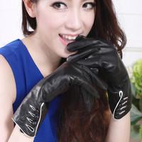 Genuine  leather thickening thermal long design sheepskin gloves women's gloves