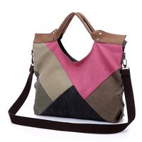 Women's handbag 2014 autumn and winter bag canvas bag messenger bag handbag colorant match big bag