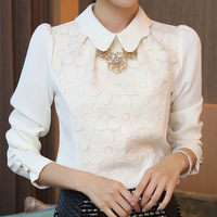 Free Shipping S-XL 2014 Chiffon Blouse Shirt Korean Style Elegant Patchwork Flower Lace Formal Blouse Shirts For Women Blouses