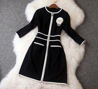 Women's 2014 Autumn Dress High Quality Vintage White Rose Decorated Half Sleeves Nobel Black Sheath Dress