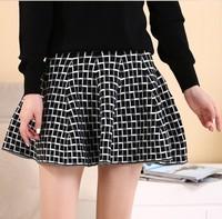 Autumn and winter all-match knitted short skirt ruffle skirt high waist skirt