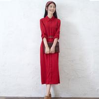 Book autumn vintage design long shirt dress full dress turn-down collar long-sleeve red one-piece dress full dress