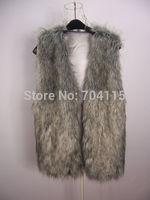 Autumn and winter grey faux fur vest