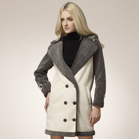 Female Fur one piece winter thicken hooded turn-down collar double breasted medium-long fur soft suede leather coat H0401