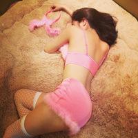 Sexy Pink Fluffy Bunny Lingerie Costume bra, skirt, thong, garter, ears