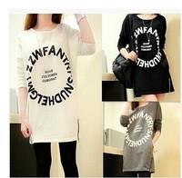 2014 autumn Women's long sleeve loose tops casual t-shirt women female hip slim medium-long plus size basic shirt sweatshirt