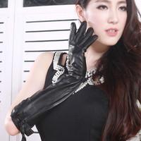 Genuine  leather gloves sheepskin  women's gloves autumn and winter long design gloves