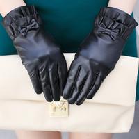 Genuine leather gloves women's sheepskin gloves plus velvet thickening winter thermal genuine leather gloves women's leather
