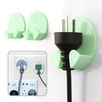 Paste type electrical appliances plug hook 2 socket storage rack small