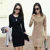 2014 100% long-sleeve cotton ol basic skirt elegant autumn slim hip one-piece dress female plus size clothing