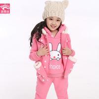 Female child children's clothing 2014 winter child dot cartoon thermal thickening wadded jacket three piece set