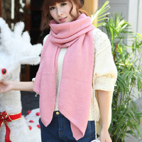 Autumn and winter knitted yarn thermal scarf ultra long solid color all-match women's muffler scarf cape