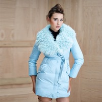 Hot Selling 2014 Winter Personality Medium-long  Fur Collar Women Slim Down Jacket, Parkas,Thick Cotton Coat, Big Size F16399