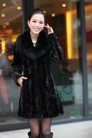 hot-selling 2014 marten fur coat wool overcoat female long design mink fur hair collar Free shipping