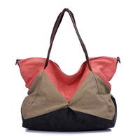 Women's handbag 2014 autumn and winter large capacity one shoulder handbag messenger bag colorant match canvas big bag