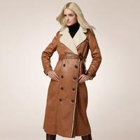 Fashion russia style women luxury fur one piece suede leather X-long trench overcoat slim winter warm plus size coat belt H0599