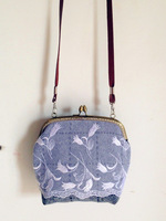 Original design grey woolen fresh lace embroidery portable small cross-body handmade cloth female
