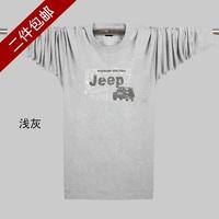 Male t-shirt men's clothing o-neck long-sleeve T-shirt 100% cotton plus size plus size casual sports top