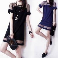 2014 summer plus size clothing chiffon one-piece dress short-sleeve slim loose skirt autumn