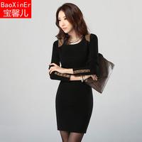 2014 autumn and winter basic one-piece dress ol fashion long-sleeve dress slim hip slim a-line skirt