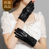 Sheepskin gloves women's autumn and winter thermal thickening pleated genuine leather gloves female sheepskin st6040