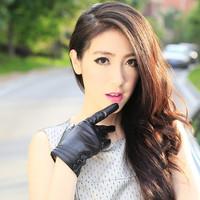 Genuine leather  plus velvet thickening thermal sheepskin gloves women's gloves