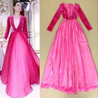 Fashion 2014 Luxury elegant Nobility Sexy velvet patchwork V-neck expansion bottom formal dress Full dress one-piece dress